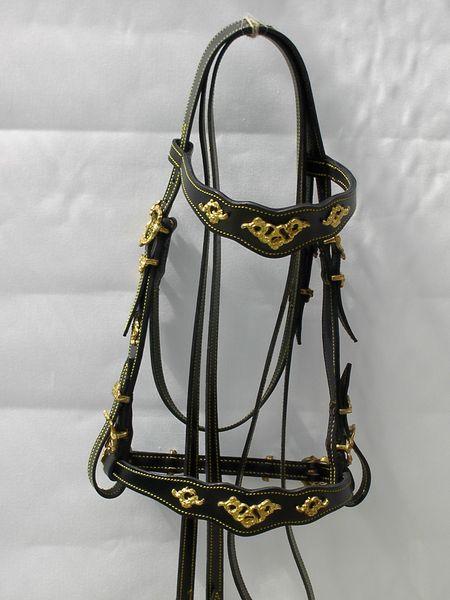 Portugiesischer Zaum Dom DiogoLederbreite 2cm, Lederfarben: natur, schwarz, braunSchnallen eckig oder verziert, chrom oder messingfarbenmit Zügel